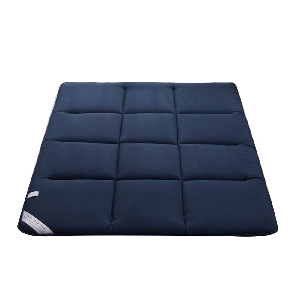 bluee 180x200cm JRMU Tatami Quilted Roll Up Futon Mattress Pad, 180x200cm(71x79in) Breathable Foldable Moisture Wicking Bed Mattress Floor Sleeping Mat Ergonomic Design T-4cm-bluee 180x200cm
