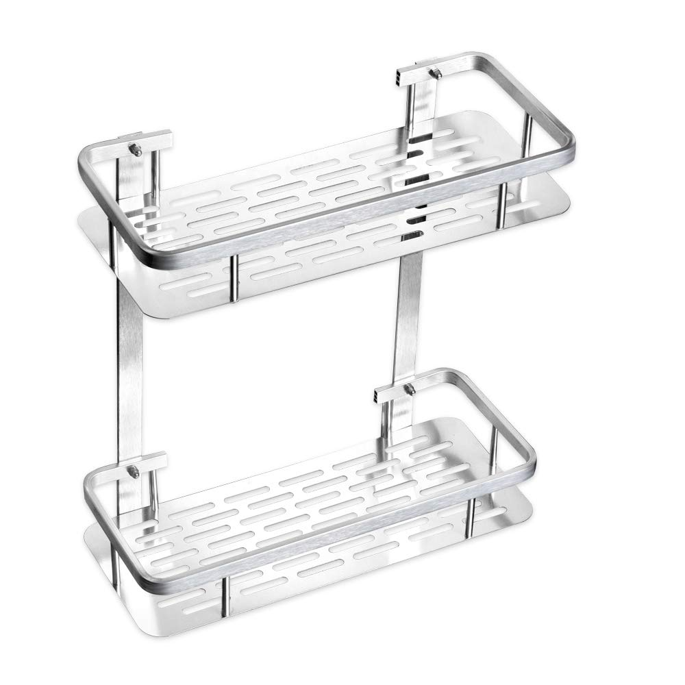 TIANG-Aluminium Two Tier Wall Hanging Triangle Bathroom Shelf