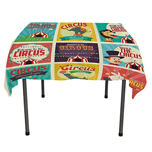 Circus Decor Outdoor Picnics Collection of Old Circus Icons Carnival Magicians Old Fashioned Nostalgic Festive Artsy Print Multi Washable Outdoor Table Cloth Spring/Summer/Party/Picnic 36 by 36 ()