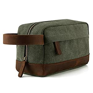 (Army Green) - Plambag Canvas Leather Toiletry Bag Travel Cosmetic Makeup Organiser(Army Green)