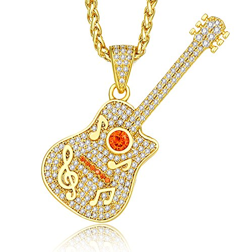 Lanroque 14k Gold Iced Out Classical Guitar Hip Hop Pendant Necklace for Men, 26''