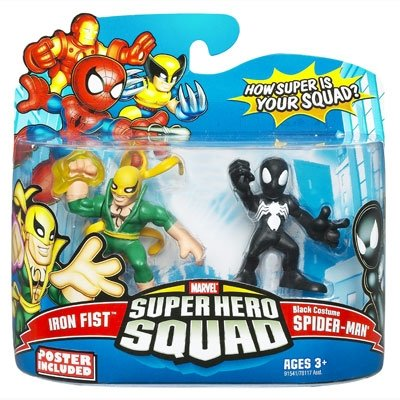 Marvel Superhero Squad Series 14 Mini 3 Inch Figure 2-Pack Black Costume Spider-Man and Iron -