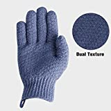 EvridWear Exfoliating Dual Texture Bath Gloves for Shower, Spa, Massage and Body Scrubs, Dead Skin Cell Remover, Gloves with hanging loop