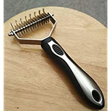Professional Grade Dematting Tool for Dogs & Cats Double Sided Grooming Comb Rake Gentle Massaging Rake for all Hair Types & Breeds