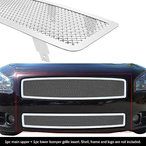 APS Fits 2009-2014 Nissan Maxima Stainless Steel Mesh Grille Grill Combo Insert # N77774T