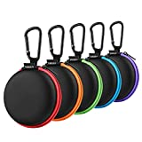 Earphone Carry Case, SUNGUY [5-Pack] Small Round Pocket Earbud Travel Carrying Case with Colorful Zipper for Smartphone Earphone,Bluetooth Headset,USB Cable,SD Cards Storage Bags and More
