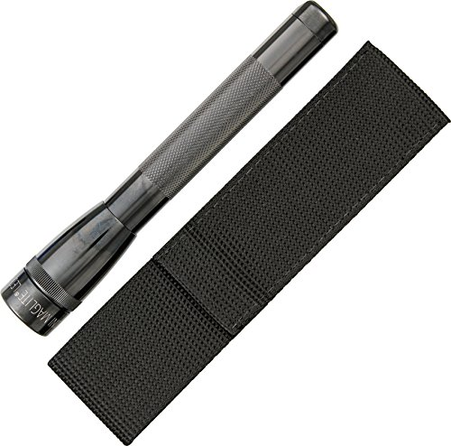 Maglite Mini LED 2-Cell AA Flashlight with Holster, Gray (Mini Double Circle)