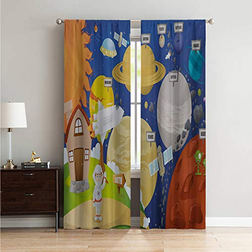 Mozenou Microfiber Window Panel Pair Curtain Panels Educational,Cartoon Style Planet System and Astronaut in Outer Space Galactic Adventure,Multicolor W96 x L108 Inch ()
