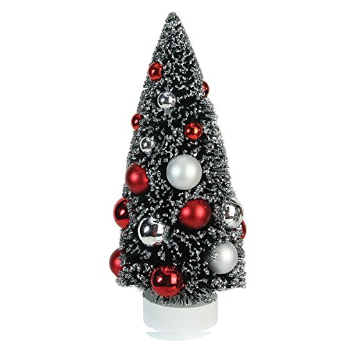 "Northlight 9"" Frosted Red and Silver Sisal Pine Artificial Christmas Table Top Tree"