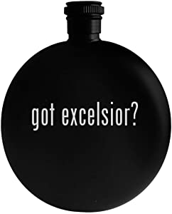 got excelsior? - 5oz Round Alcohol Drinking Flask, Black