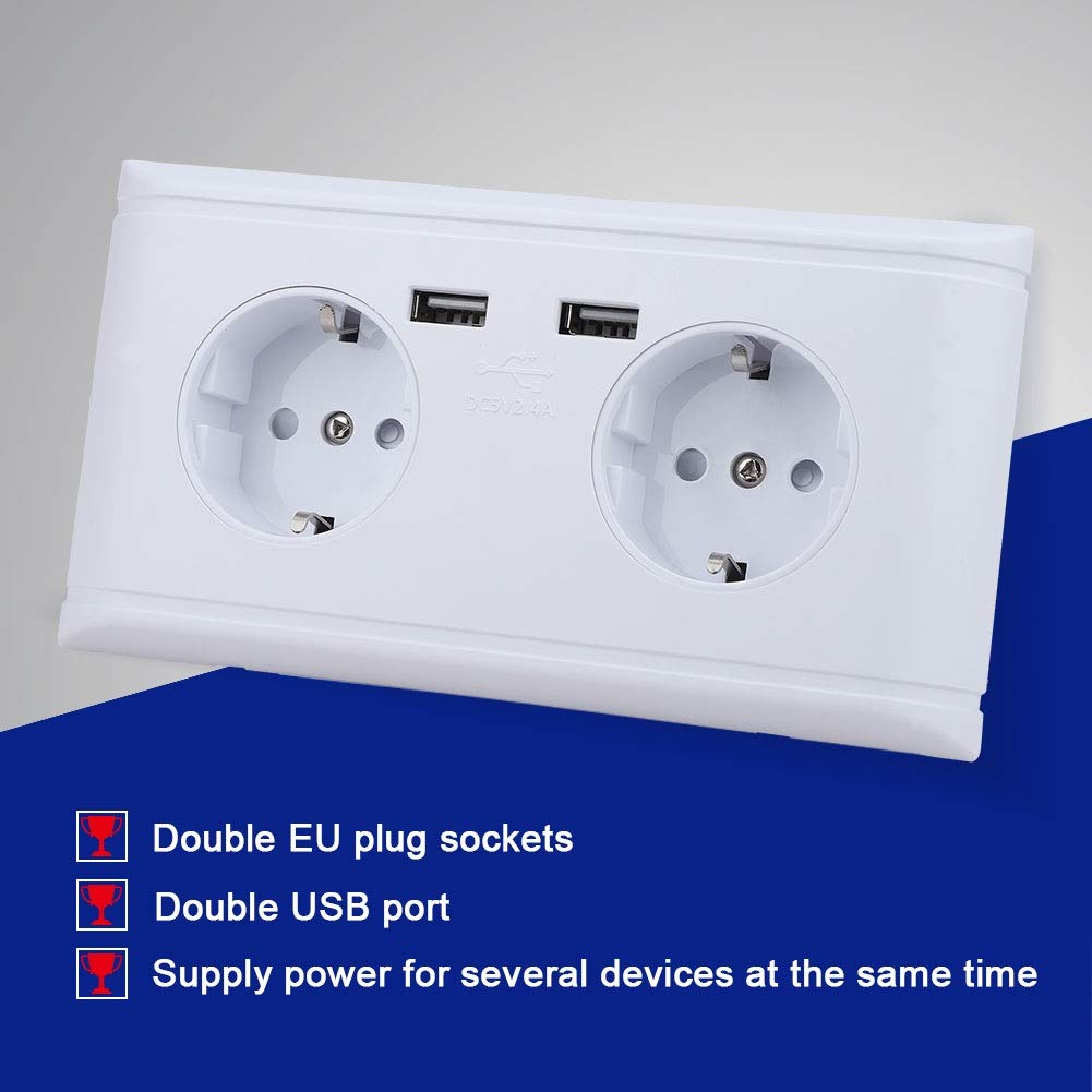 Yonhchop Multi-Functional EU Plug Wall Power Outlet Socket with Dual USB Port for Phone Charging 250V