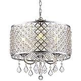 GLANZHAUS Modern 4-Light Crystal Chandelier Pendant Light, Ceiling Light with Crystal Beaded Drum Shade Chrome Finish for Bedroom, Living Room, Hallway, Bar, Kitchen, Dining Room, Kids Room