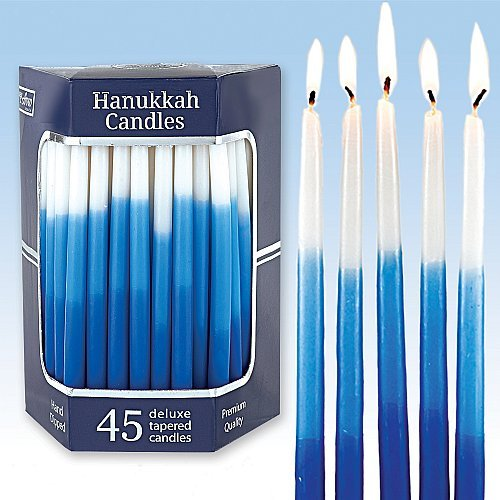 Coloured Candle - Deluxe Tapered Blue Tri- Colored Hanukkah Candles For All 8 Nights of Chanukah