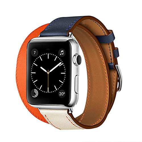 TEXSCOPE Compatible for Iwatch Band, Genuine Leather Double Tour Apple Watch Straps 38mm/42mm with Replacement for Men Women iwatch series3/2/1 (Orange/Indigo/Craie, 38mm)