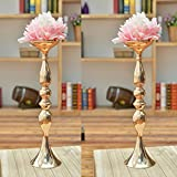 #6: 2 pieces 50cm height metal candle holder candle stand wedding centerpiece event road lead flower rack (Glod x 2) …