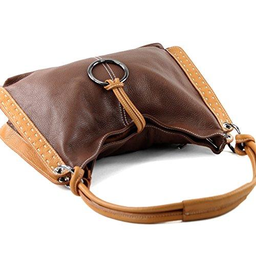 modamoda de - ital. Ledertasche Damentasche Damenhandtasche Schultertasche Henkeltasche Echt Leder Damen Tasche T007 Braun/Camel