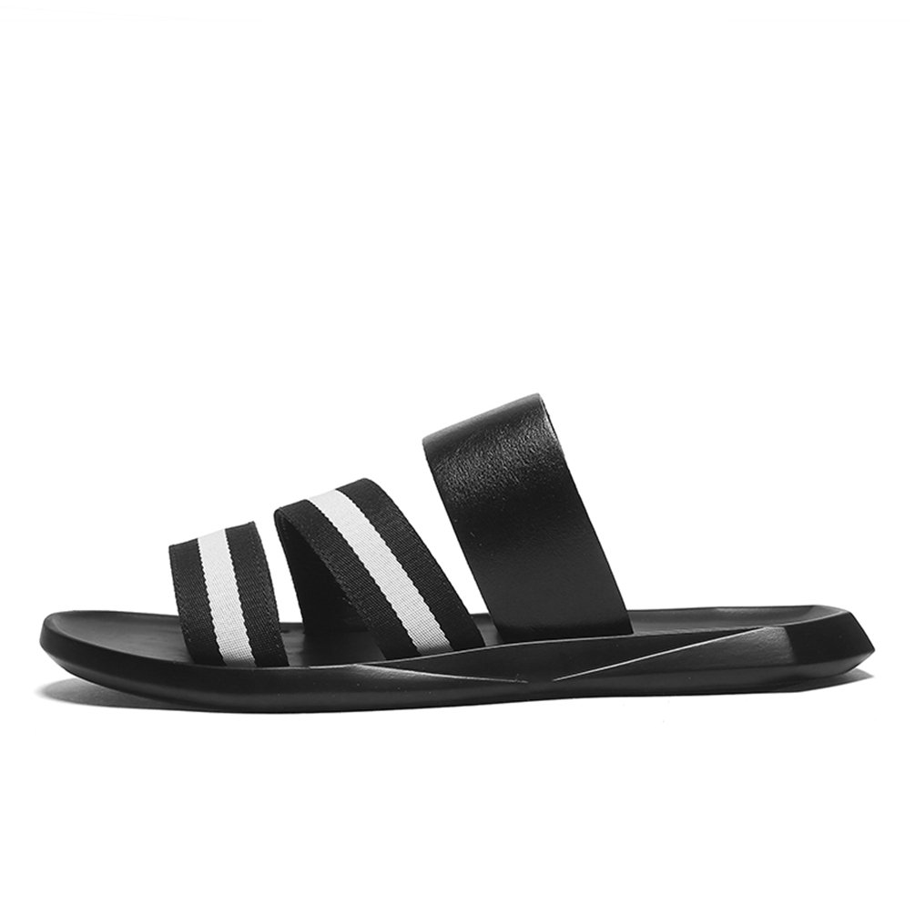 Sherry Love Men's Athletic Slides Casual Daily Sandals Open-Toe Type-Black and White-40 EUR