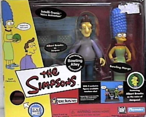 The Simpsons World of Springfield Interactive Enviroment Bowling Alley with Exclusive Jacques & Bowling Marge Figures by Playmates Toys Inc. (Simpson Interactive)