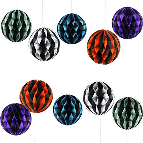 Paper Mache Halloween Decorations (Tissue Paper Honeycomb Balls - Signstek 10Pcs 5 Colors Folding Tissue Lanterns for Halloween)