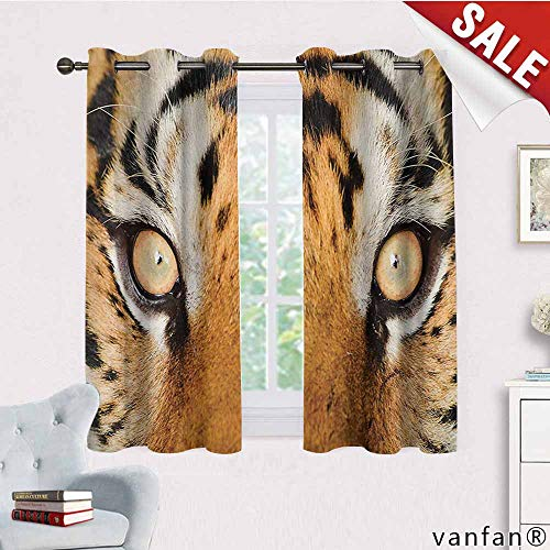 Big datastore Darkening Draperies Curtains Panels,Safari,Close-Up Tiger Eyes Hunter Look Feline Camouflage Coat Animal with Shady Colors,2 Panels for Bedroomorange Black,W55 Xl39