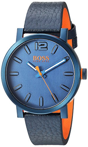 HUGO BOSS Men's 'BILBAO' Quartz Stainless Steel and Leather Casual Watch, Color:Blue (Model: 1550039)