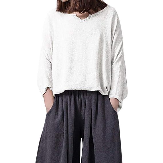 Camisa Mujer, LANSKIRT Vendimia Mujeres Suelto Cuello en V Lino de algodón Casual Color sólido