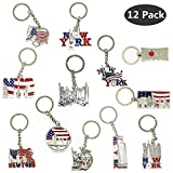 #3: 12 Pack New York NYC Metal Keychain Ring Bundle Souvenir Collection, Gift Set – Includes Empire State, Freedom Tower, Statue Of Liberty, USA Flag, And More