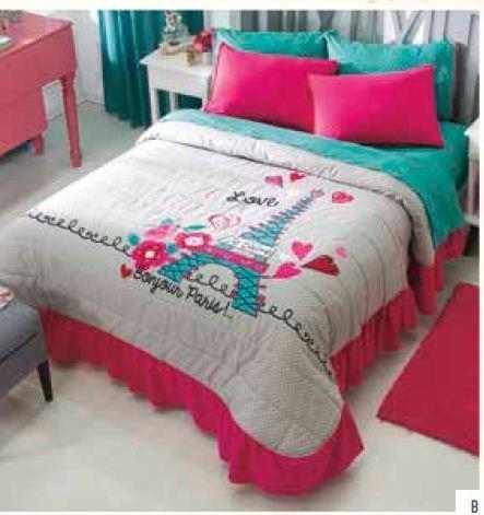 Teens Love Paris Bedspread and Sheets Set (twin)