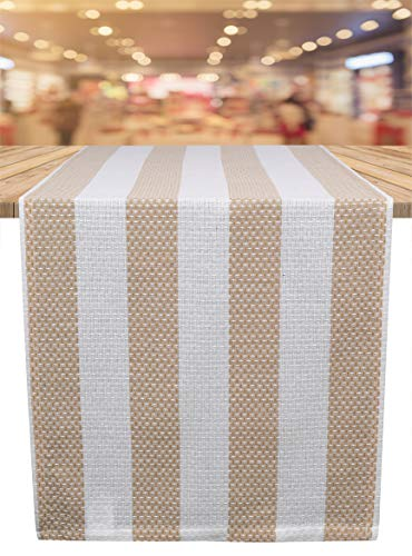 Ramanta Home Veronica Stripe Cotton Table Runner for Family Dinners or Gatherings, Indoor or Outdoor Parties & Everyday Use, Wedding Table Runner, Easy Care, 16x72 Linen Stripes 2 Pack (Table Gathering Outdoor)