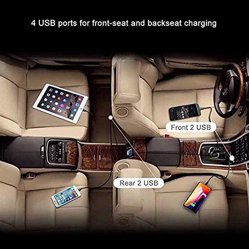 Charger Phones and Tablets simultaneously Z223N291 2.4Amp per Port Total 9.6Amps ZipKord Road Trip 4-Port Car Charger with Backseat Clip 6 Foot Cable Extension