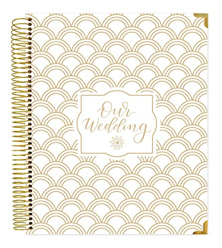 "Undated Wedding Calendar Planner & Organizer/Hardcover Keepsake Journal with Essential Planning Tools - Checklists, Vision Boards, Tips and More - 9"" x 11"" - Gold Foil Scallops"