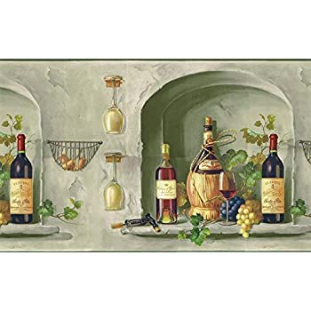 Wallpaper border tuscan grapevine rust red purple green for Purple kitchen wallpaper