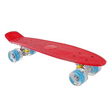 Monopatin Niños, Mini Skateboards y 4 Ruedas de PU Transparentes para niños Skateboard para niños en Colores de Moda también para Adultos jóvenes, ...