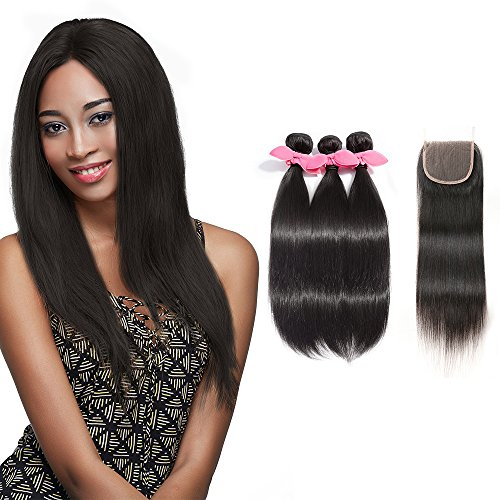 Rechoo 7A Grade Brazilian Remy Straight Hair 3 Bundles 300g With 4x4 Lace Closure Extensions Bundles with Free Part Closure - Harlem Plaza