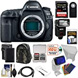 Canon EOS 5D Mark IV 4K Wi-Fi Digital SLR Camera Body with 64GB SD Card + Battery & Charger + Backpack + Flash + Reflector + Gel Filters + Kit