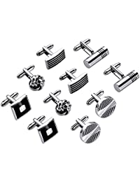 Lictin Men's Cufflinks Cuff Links for Men, 5 Pairs Stainless Steel Classic Tone Cufflinks Black Striped Cuff Links Shirt Suit Cufflinks Soother Clip Soother Holder Soother Clip with Gift Bag