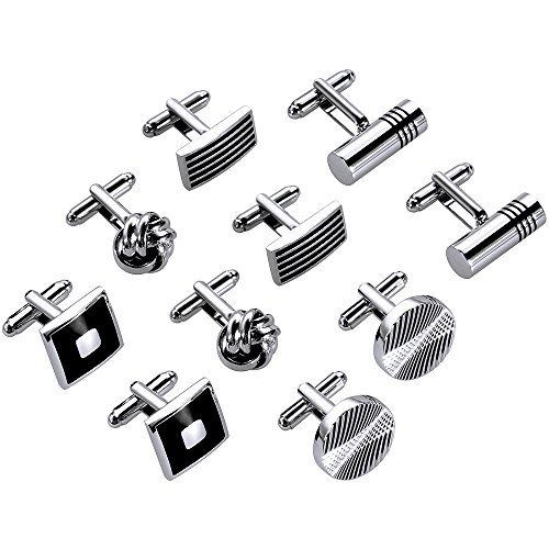 Lictin Men's Cufflinks Cuff Links for Men, Stainless Steel Classic Tone Cufflinks Black Striped Cuff Links Shirt Suit Cufflinks, 5 Pairs (Anniversary Cufflinks Stainless Steel)