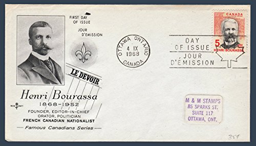 Canada First Day Cover Postage Stamp # 485 - Henri Bourassa - French Canadian Nationalist