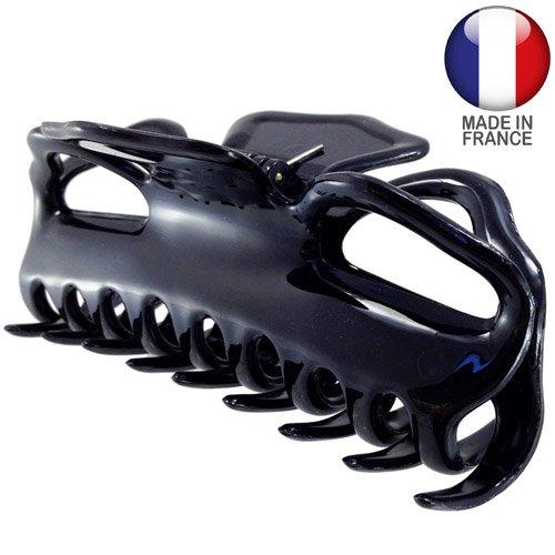 505-001 - Pinza per capelli francese granchio cm 11 colore nero - Pinze per capelli Righe e Pois