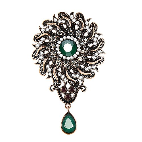 tage Flower Brooches Pins For Women Green Resin Water Drop Pendant Antique Gold Turkish Jewelery (Turkish Bouquet)