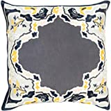 22'' Metalic Gray and Golden Yellow Floral Decorative Throw Pillow