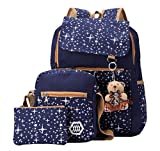 BOOTY GAL Girls' Lightweigth Canvas Backpack Set 3 Pieces Patterned Bookbag Shoulder Bag School Backpacks (Large, Navy Blue)