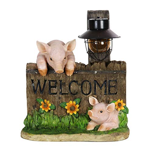 Exhart Pig Statue – Pig Welcome Sign w/Solar Decorative Lantern Interior Lights, 13