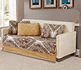 Mk Home 5pc DayBed Bedspread Quilted Print Modern Floral White Brown Green New # Portia 66
