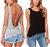 Mippo Women Summer Cool Yoga Tops Casual Street Open Back Simple Cute Tank Cut Off Gym Crop Tops Black & Gray 2 Pack L