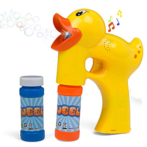 Bubble Gun Toy Machine Shooter | Duck Shape with Music and Sounds | 2 Bubble Solution with Battery Included | Bubble Blaster for Parties | Indoor or Outdoor
