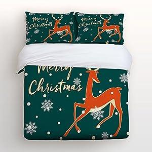 Christmas Duvet Cover Set, Soft Bedding Set, Festival Cartoon Reindeer Elk Print Pattern Printed By Prime Leader, with Zipper Closure (4pcs, Twin Size)