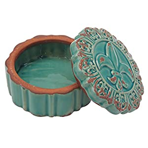 Stonebriar Round Worn Turquoise Fleur De Lis Keepsake Trinket Box, Decorative Small Jewelry Holder, Unique Gift Idea for Birthdays, Christmas, Weddings, or Any Special Occasion