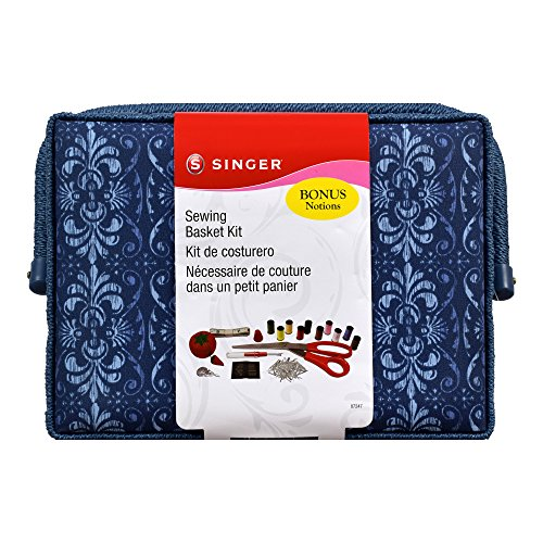 Singer 07247 Ombre Ornamental Vintage Sewing Basket with Notions, Blue