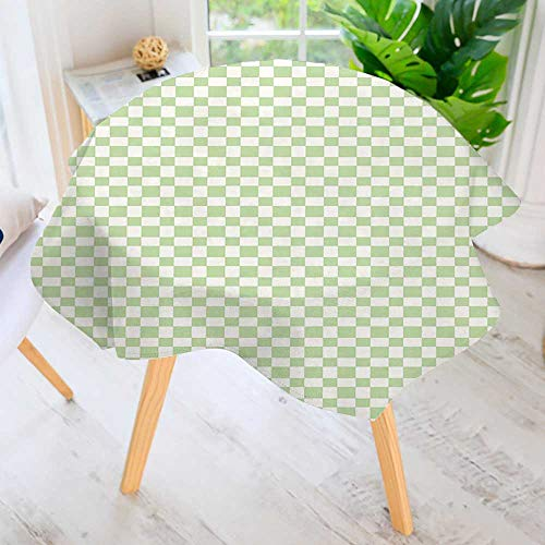 aolankaili Easy-Care Cloth Tablecloth Round-Squares Checked in Soft ColorsMonochrome Tile Print Lime Green White Great for Buffet Table, Parties, Holiday Dinner & More 67